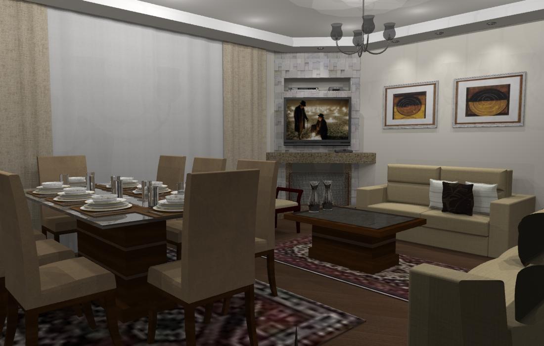 Projeto interiores reforma sala estar jantar agua verde for Sala de estar victoriana